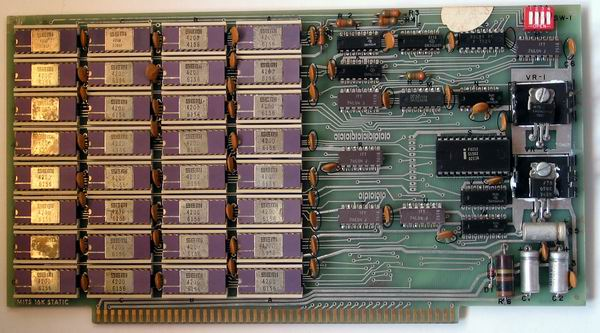The MITS 16k static RAM card from the MITS Altair 8800a