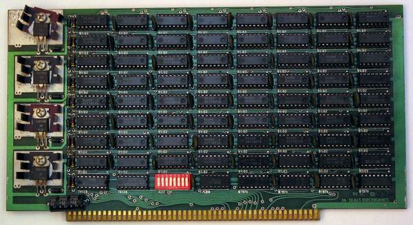 One of the 4 Seals 8k static RAM cards from the MITS Altair 8800