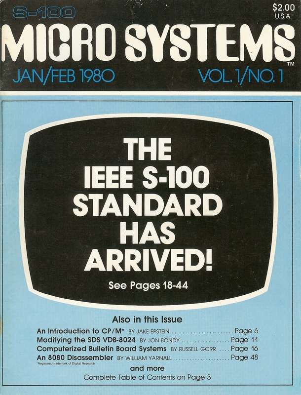 Premier Issue of S-100 Micro Systems Magazine