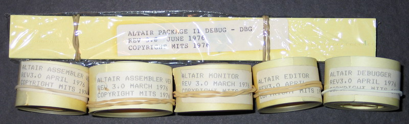 Some original MITS paper tape software for the Altair
