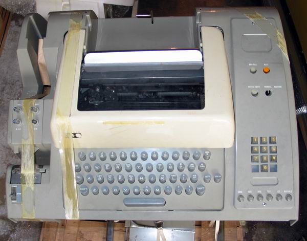 A closeup of the ASR33 teletype keyboard and keypad