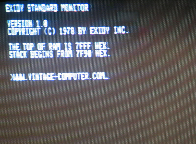 A photo of the Exidy Sorcerer screen