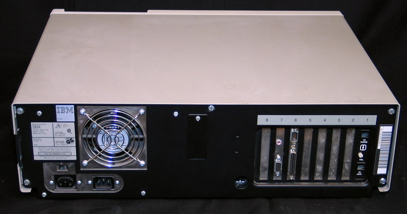 Rear view of the IBM PC AT without the trim cover in place