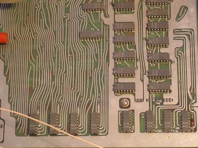 An overview of the lower right of the Kenbak-1 logic board