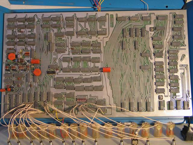 An overview of the front of the Kenbak-1 logic board