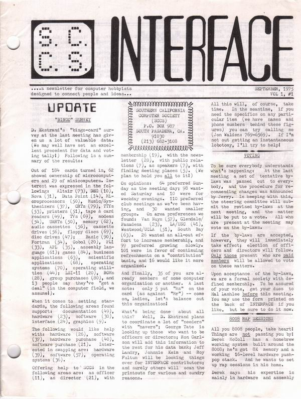 SCCS Interface Newsletter Volume 1, Number 1