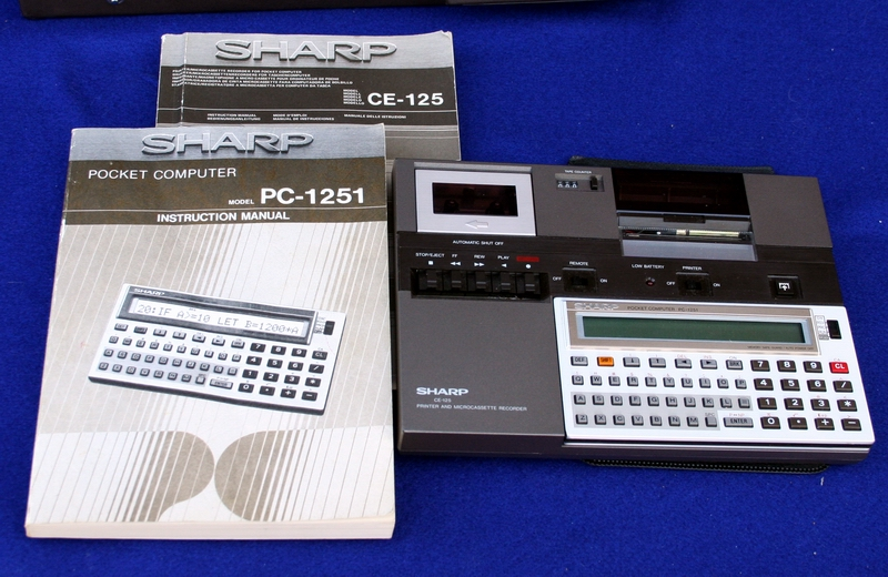 sharp PC-1251 setup with documents, etc.