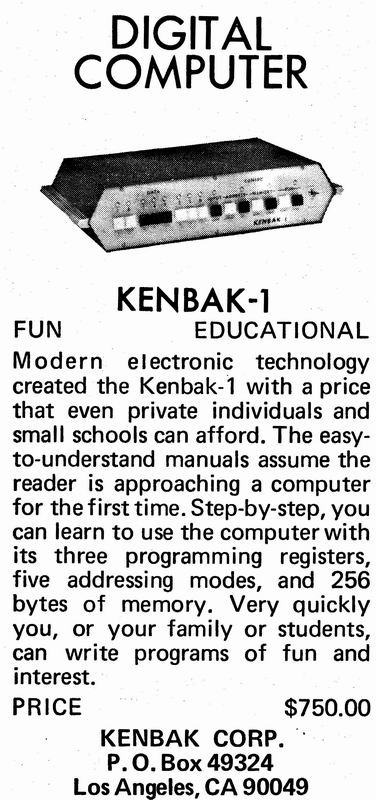 The Kenbak-1 as advertised in the pages of Scientific American