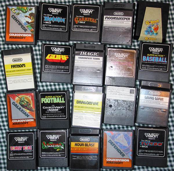 A collection of Coleco Adam software cartridges