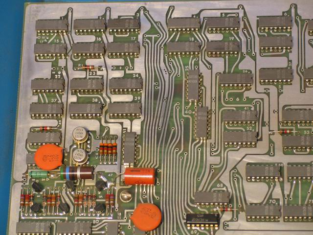 An overview of the upper left of the Kenbak-1 logic board